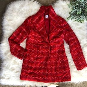 CAbi Red Tweed Wiven Embroidered Jacket